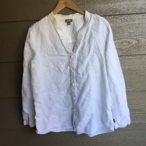 Linen J. Jill White button up blouse tunic